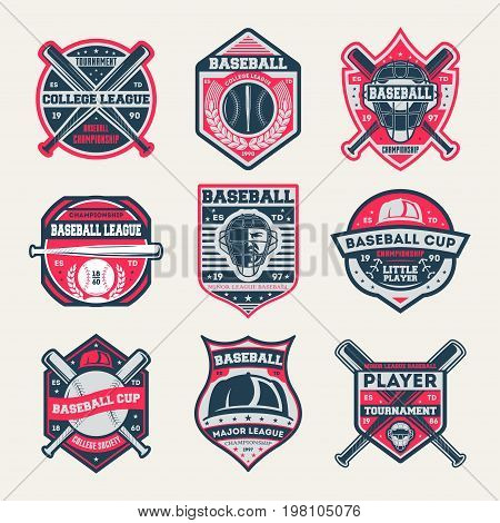 Baseball championship vintage isolated label set. Baseball league and tournament symbol, sport colleague society icon, athletic camp logo. Baseball cup badge collection vector illustration
