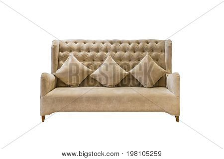 Luxury velvet upholstered sofa with cushions isolated on white background with clipping path.