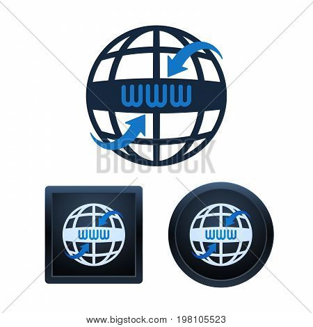 Globe Shaped Www Icons Design, Isolated Vector Illustrations