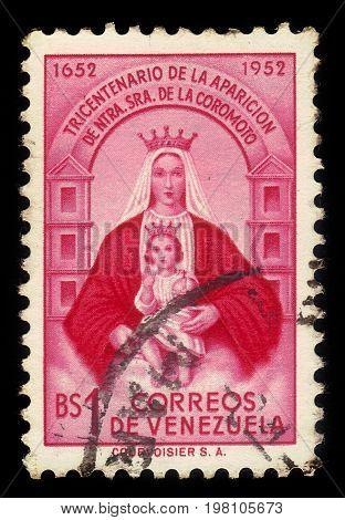 VENEZUELA - CIRCA 1952: A stamp printed in Venezuela shows Our Lady of Coromoto ( Virgin of Coromoto ), patron saint of Venezuela, circa 1952