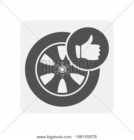 Car diagnostics icon with alloy rim element. Auto repair service symbol, automobile center pictogram isolated vector illustration