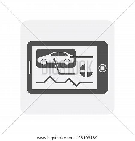 Car diagnostics icon with tablet PC element. Auto repair service symbol, automotive center pictogram isolated vector illustration
