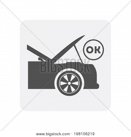 Car diagnostics icon, car with open hood element. Auto repair service symbol, automotive center pictogram isolated vector illustration