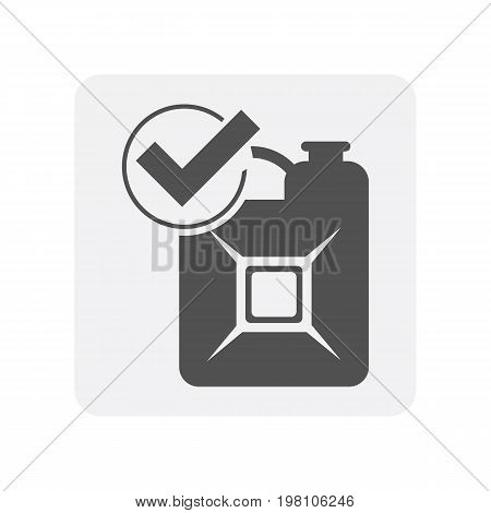 Car diagnostics icon with gasoline jerrican element. Auto repair service symbol, automotive center pictogram isolated vector illustration
