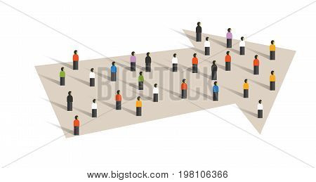 direction arrow concept of leadership crowd group of small people together business cooperation vector