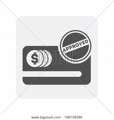 Creditworthiness icon with credit card sign. Credit score symbol, financial history, commercial bank pictogram isolated vector illustration
