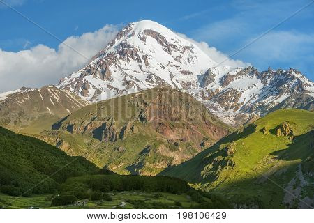 magnificent view of the Mount Kazbek, Kazbegi region, Georgia