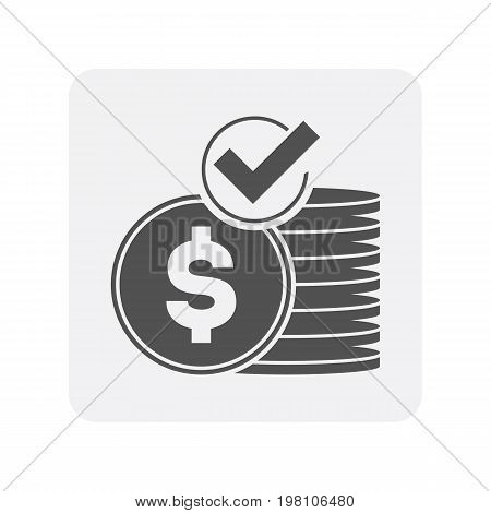 Creditworthiness icon with money coin sign. Credit score symbol, financial history, commercial bank pictogram isolated vector illustration
