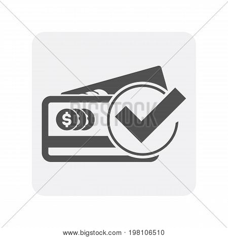 Creditworthiness icon with plastic credit card sign. Credit score symbol, financial history, commercial bank pictogram isolated vector illustration