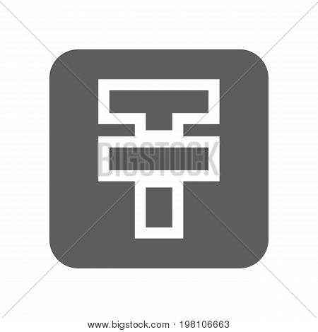 Kazakhstan tenge currency isolated icon. Online financial system, money symbol, worldwide payment service vector illustration.