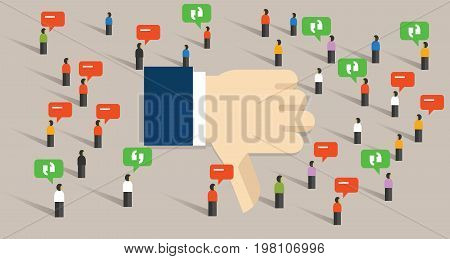 dislike thumbs down social media crowd people society communication internet bad review vector