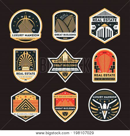 Real estate company retro isolated label set. Luxury mansion vintage badge, great building symbol, urban architecture vector illustration. Modern city construction sign collection.