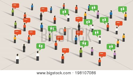 crowd people talking bubble speech social media communication noise listening to public vector