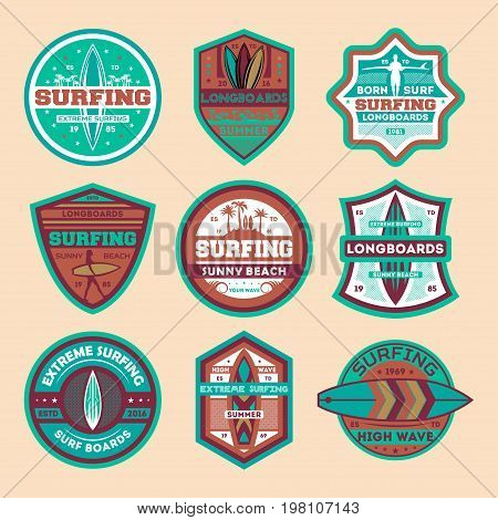 Extreme surfing camp vintage isolated label set. Surfing competition, summer beach game championship symbol, sport society icon, athletic camp logo. Windsurfing badge collection vector illustration