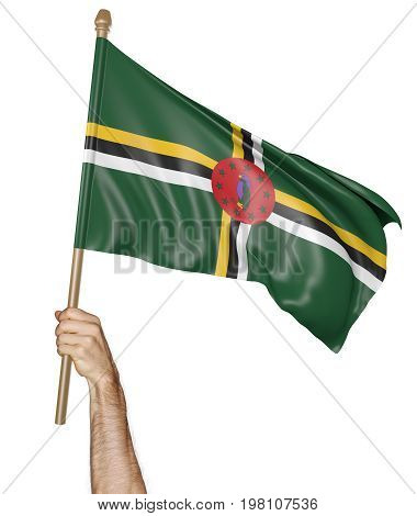 Hand proudly waving the national flag of Dominica isolated on a white background, 3D rendering