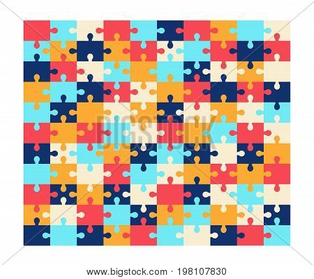 Colorful jigsaw puzzle blank template, 10-11 ratio. Vector illustration in flat style, game concept.