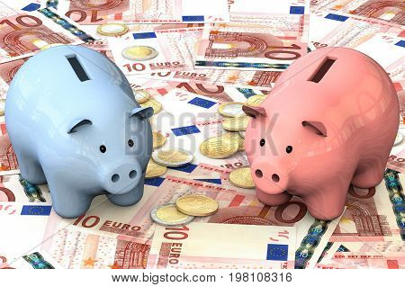 3d illustration: blue and pink piggy bank with copper coins cents lie on the background of banknote ten Euro. Banking business concept. Investments, deposits, storage, cash. The problem of choice.