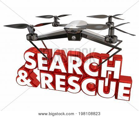 Search and Rescue SOS Help Drone Flying Carrying Words 3d Animation