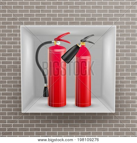 Fire Extinguisher In Wall Niche Vector. Realistic Red Fire Extinguisher Illustration
