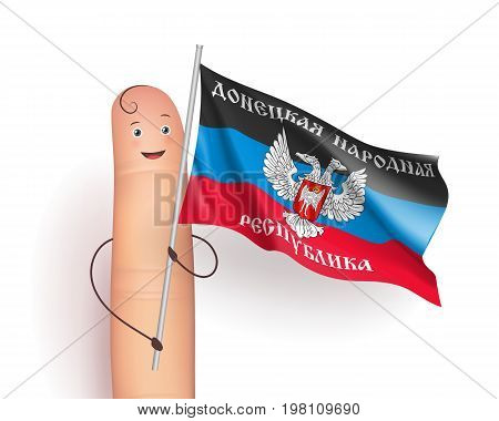 Donetsk People's Republic flag. Finger person with pole in hands. European unrecognized and with unlimited recognition state. Vector realistic illustration on white background