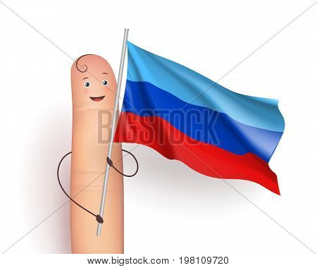 Lugansk People's Republic flag. Finger man holding it proudly. European unrecognized and with unlimited recognition state. Vector realistic illustration on white background