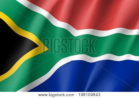 South Africa flag. National patriotic symbol in official country colors. Illustration of Africa state waving flag. Realistic vector icon