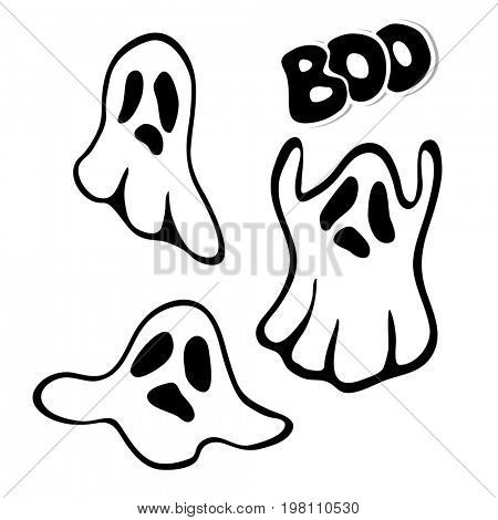 Ghost. Lettering Boo. A set of ghosts. Halloween element design.