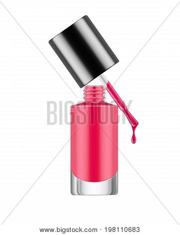 Realistic nail polish bottle. Deep red polish nail bottle with brush and a drop of varnish. Product, makeup, nail care. Realistic template vector illustration