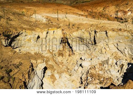 Quarry of clay clay earthen wall background texture