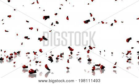 3D illustration of Many Boxing Gloves raining with a reflecting floor and a white background