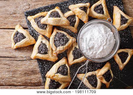 Traditional Jewish Holiday Food - Purim Hamantaschen Close-up. Horizontal Top View
