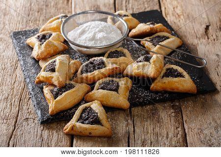 Traditional Jewish Holiday Food - Purim Hamantaschen Close-up. Horizontal