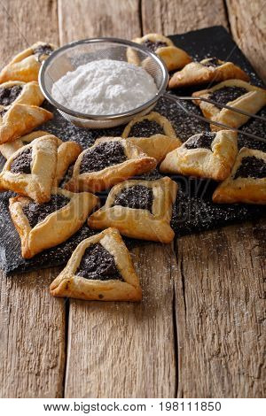 Backed Hamentashen, Ozen Haman, Purim Cookies For The Jewish Holiday Purim Close-up. Vertical