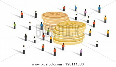 crowd-funding money financial donation crowd group of small people together business cooperation looking for big cash vector