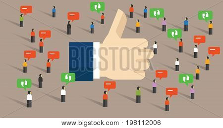 like thumbs up social media public engagement internet audience symbol of feedback vector