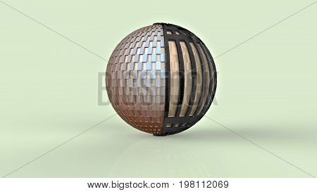 3D rendering. Sphere. Visualization of the ribbed sphere from the material of beige color. The ball is enclosed in a metal mesh. Illustration of the geometry and jewelry.