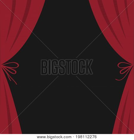 Open luxury red silk stage theatre curtain. Velvet scarlet curtains with bow. Flat design. Movie cinema premiere. Template. Black background. Isolated. Vector illustration