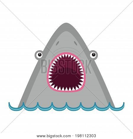 Shark head face with big open mouth and sharp teeth. Cute cartoon animal character. Baby educational card. Sea ocean wild animal. Water wave. Flat design. White background Isolated Vector illustration