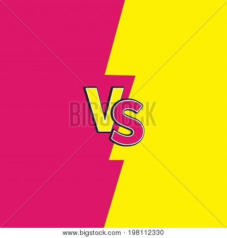Versus letters or VS battle fight competition. Cute cartoon style. Pink yellow background template. Flat design. Vector illustration