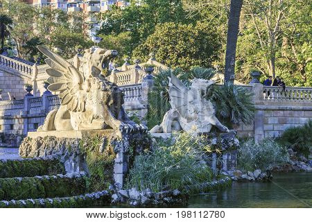 BARCELONA, SPAIN - MAY 12, 2017: This is a fragment of the modernist of the Grand Cascade Fountain in the Ciutadella Park.