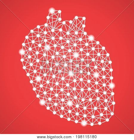 Human Heart Isolated On A Red Background. Vector Illustration.Cardiology. Creative Medical Concept