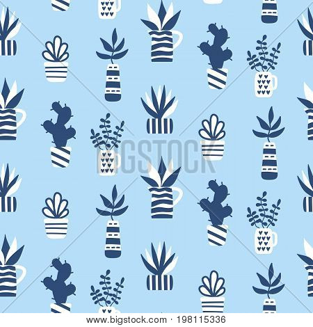 Vector seamless pattern with succulents and houseplants in vase. Modern Scandinavian style background. Greeting card, invitation, textile print, wallpaper, interior design. Trendy home decor