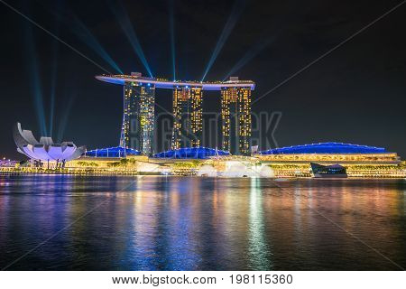 SINGAPORE - October 23 2016 : Illuminate at Marina Bay Sand. Singapore Marina Bay cityscape.
