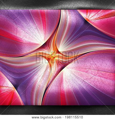 3D rendering of plastic background with embossed purple concentric star fractal on leather