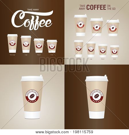 Coffee On The Go Cups. Different Sizes Of Take Away Paper Coffee Cups Vector Illustration