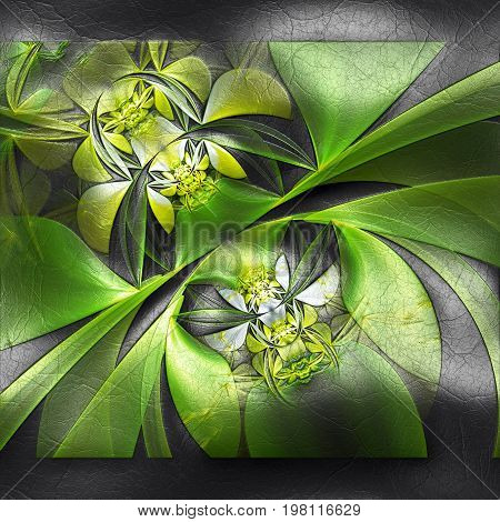 3D rendering of plastic background with embossed leaves and flower fractal on leather