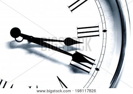 Closeup Antique Old Style Clock Time Roman Hour Number Black And White Tone