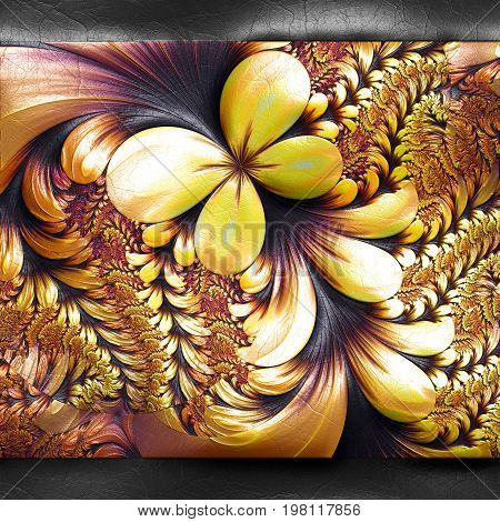 3D rendering of plastic background with embossed yellow butterfly fractal on leather