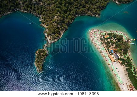 Aerial view of the beach of Oludeniz and Blue Lagoon entrance, Fethiye, Turkey