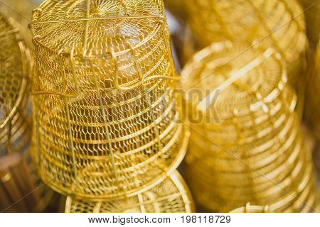 Brass Product. Closeup Chinese Style Egg Noodle Cooking Basket.
